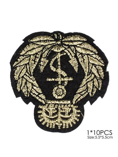 10 PCS Leaves Design Embroidered Patches - BLACK  Mobile