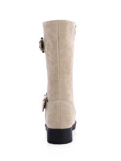 Zipper Double Buckle Metal Mid-Calf Boots - LIGHT KHAKI 38 Mobile