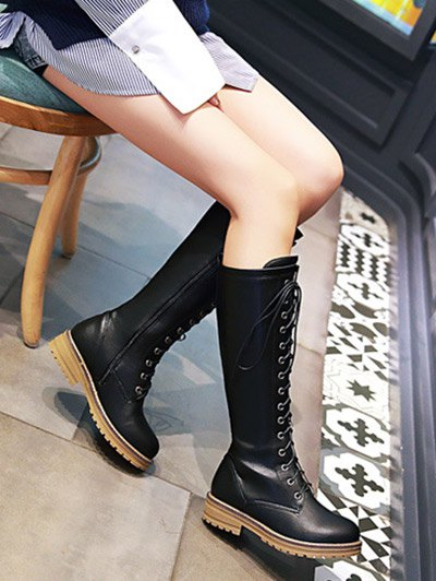 Retro PU Leather Lace Up Mid Calf Boots - BLACK 39 Mobile