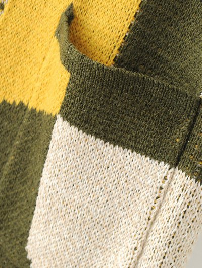 Color Block Geometric Pattern Cardigan - MULTICOLOR ONE SIZE Mobile