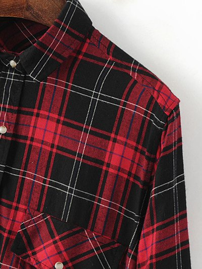 Dragon Embroidered Tartan Shirt - PLAID M Mobile
