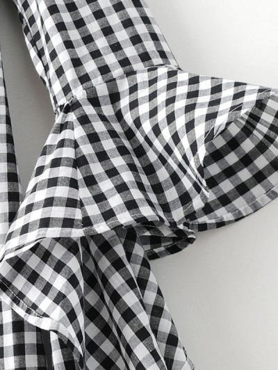 Checked Off Shoulder Flare Sleeve Dress - PLAID XL Mobile