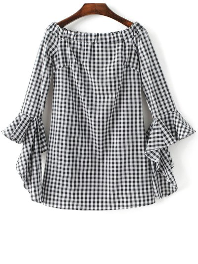 Checked Off Shoulder Flare Sleeve Dress - PLAID L Mobile