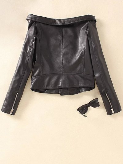 Off Shoulder Zippered Biker Jacket - BLACK L Mobile