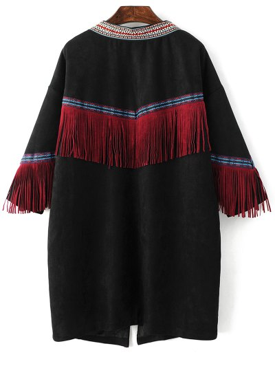 Faux Suede Fringe Coat - BLACK ONE SIZE Mobile