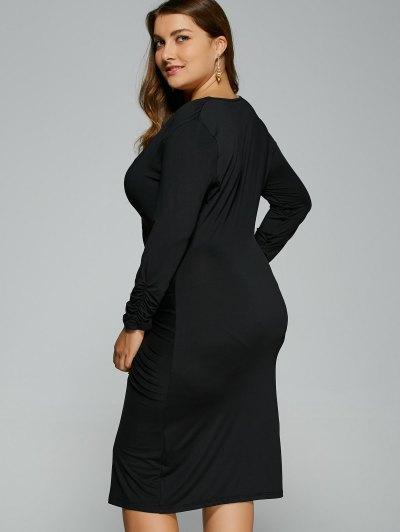 Button Decorated Surplice Plus Size Dress - BLACK XL Mobile