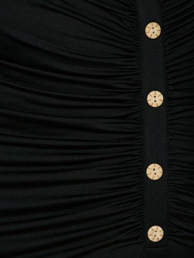Button Decorated Surplice Plus Size Dress - BLACK 5XL Mobile