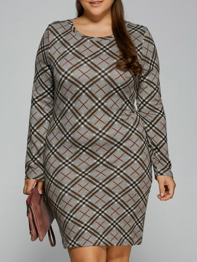 Long Sleeve Plaid Sheath Tee Dress - CHECKED 3XL Mobile