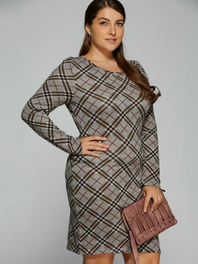 Long Sleeve Plaid Sheath Tee Dress - CHECKED 4XL Mobile