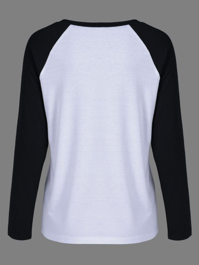 Raglan Sleeve Graphic Pattern  Tee - WHITE AND BLACK L Mobile