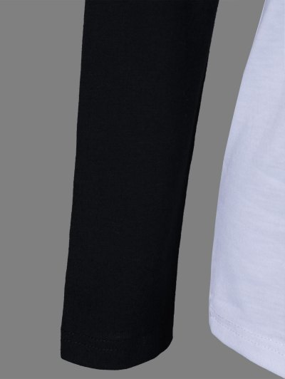 Raglan Sleeve Graphic Pattern  Tee - WHITE AND BLACK M Mobile