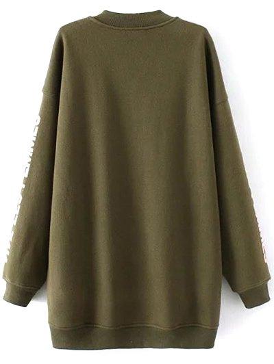 Fleece Letter Pattern Sweatshirt - ARMY GREEN M Mobile
