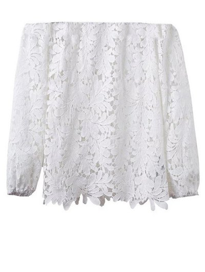 Off Shoulder Openwork Lace Hook Top - WHITE M Mobile