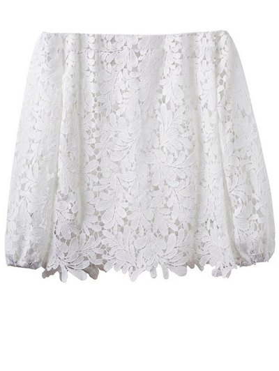 Off Shoulder Openwork Lace Hook Top - WHITE S Mobile