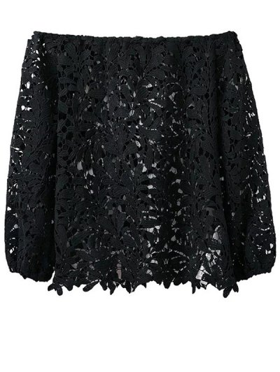 Off Shoulder Openwork Lace Hook Top - BLACK M Mobile