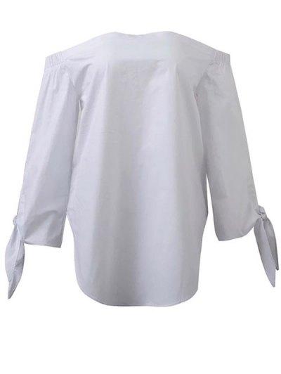 Tied Sleeve Off Shoulder Blouse - WHITE L Mobile
