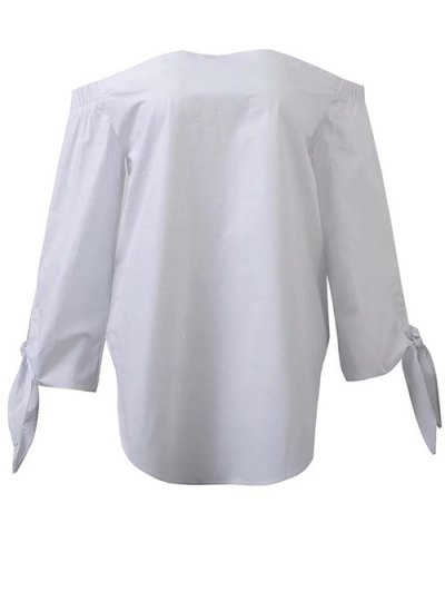Tied Sleeve Off Shoulder Blouse - WHITE M Mobile