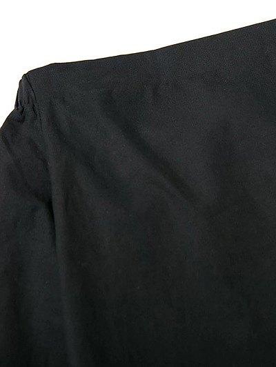 Tied Sleeve Off Shoulder Blouse - BLACK M Mobile