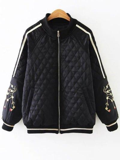 Embroidered Argyle Jacket - BLACK XL Mobile