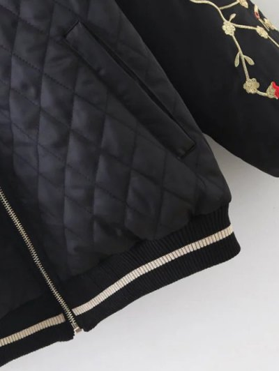 Embroidered Argyle Jacket - BLACK L Mobile