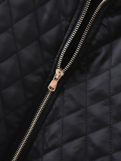 Embroidered Argyle Jacket - BLACK M Mobile