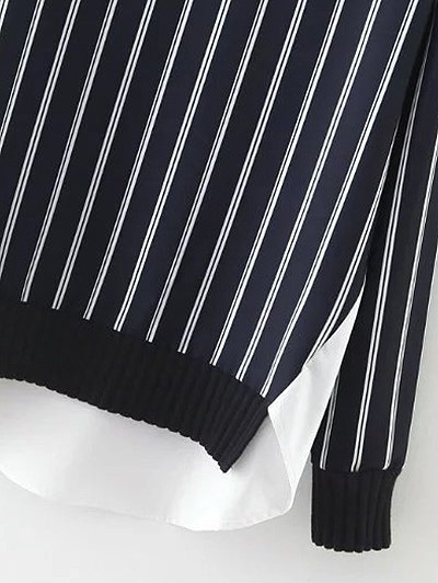 Stripes Spliced High Low Sweatshirt - BLUE AND WHITE M Mobile