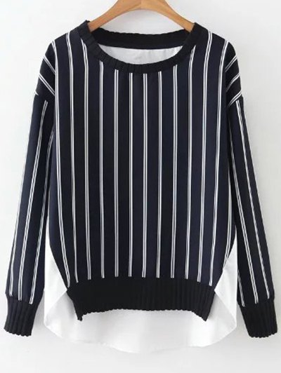 Stripes Spliced High Low Sweatshirt - BLUE AND WHITE S Mobile