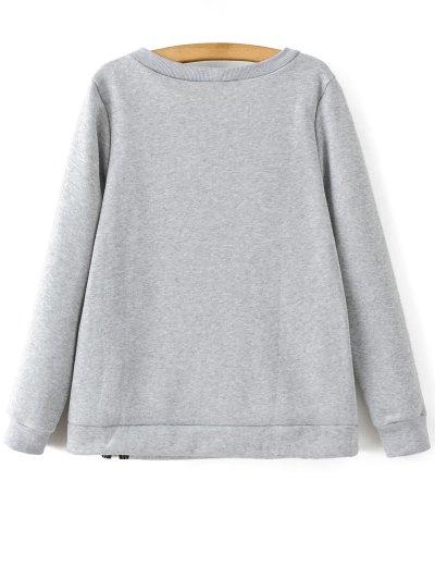 Zipper Slit Printed Sweatshirt - LIGHT GRAY S Mobile
