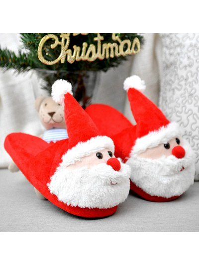 Christmas Flock Color Block Slippers - RED SIZE(39-40) Mobile