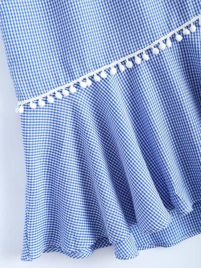 Peplum Hem Checked Midi Skirt - BLUE AND WHITE XL Mobile