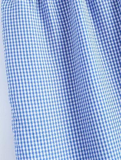 Peplum Hem Checked Midi Skirt - BLUE AND WHITE L Mobile