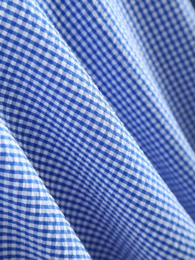 Peplum Hem Checked Midi Skirt - BLUE AND WHITE S Mobile