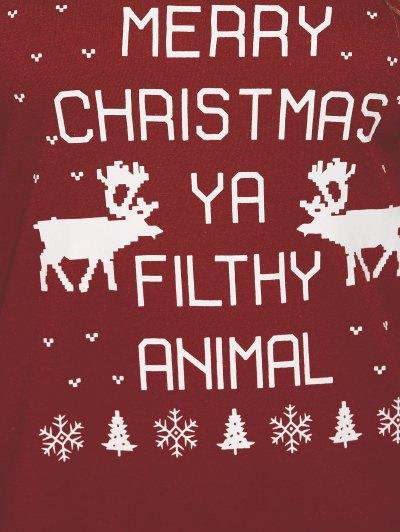 Reindeer Snowflake Christmas Sweatshirt - WINE RED L Mobile