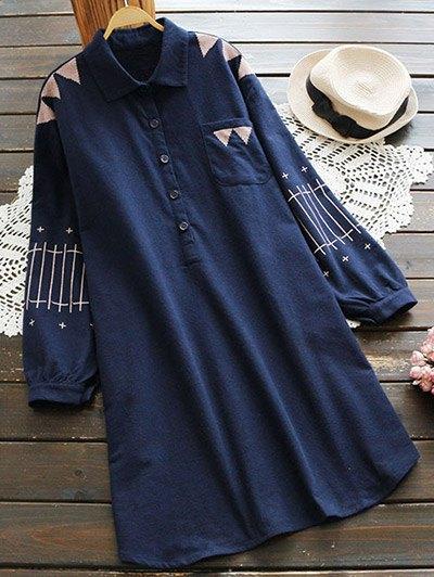 Patch Pocket Embroidered Shirt Dress - Deep Blue