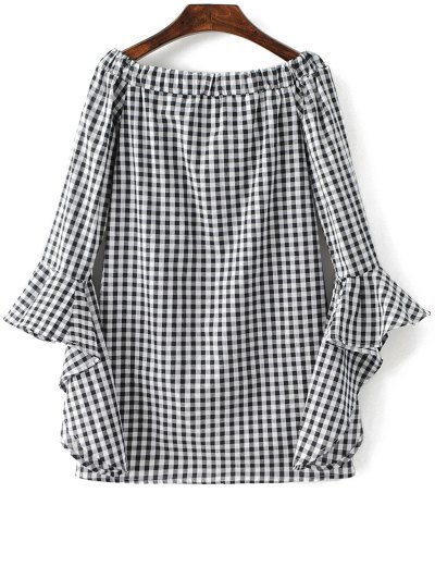 Checked Off Shoulder Flare Sleeve Dress - PLAID S Mobile