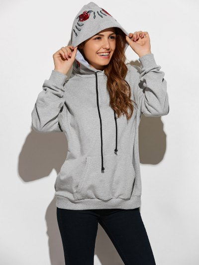 Embroidered Oversized Hoodie - Gray L