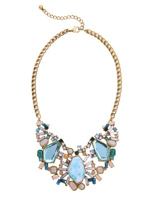 Statement Faux Crystal Geometric Necklace - Light Blue