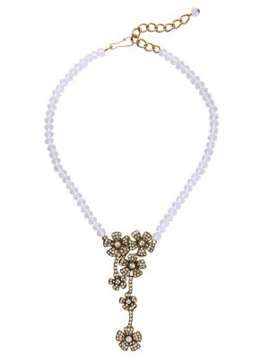 Vintage Floral Faux Crystal Rhinestone Necklace - White