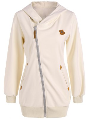 Leather Patch Inclined Zip Up Hoodie - Off-white