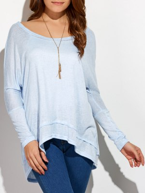 High Low Oversized Tee - Light Blue