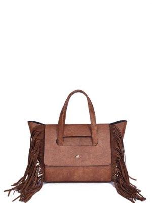 Fringe Winged PU Leather Handbag - Brown