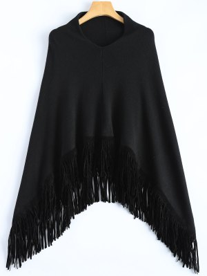 Fringed Hankerchief Hem Knit Poncho - Black