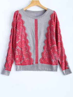 Lace Applique Sweater - Gray