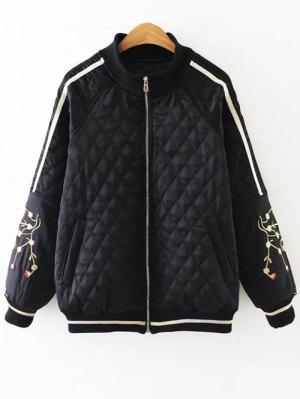 Embroidered Argyle Jacket - Black