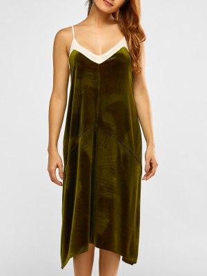 Mesh Trim Velvet Cami Dress - Green