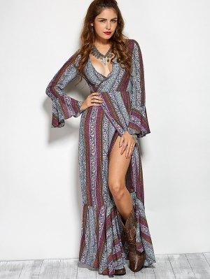 Printed High Slit Crossover Ruffle Bohemian Dress