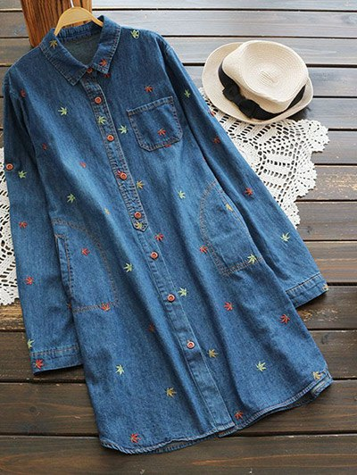 Maple Embroidered Denim Shirt With Pockets