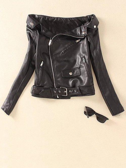 Off Shoulder Zippered PU Leather Biker Jacket