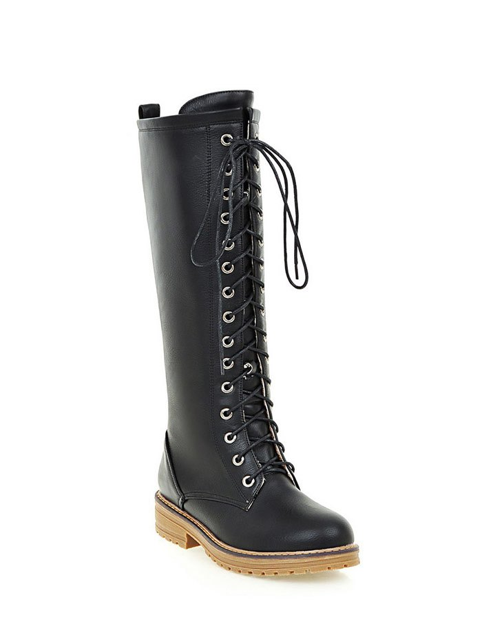 Retro PU Leather Lace Up Mid Calf BootsShoes<br><br><br>Size: 39<br>Color: BLACK