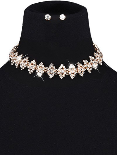Rhinestone Eye Choker and Earrings - CHAMPAGNE